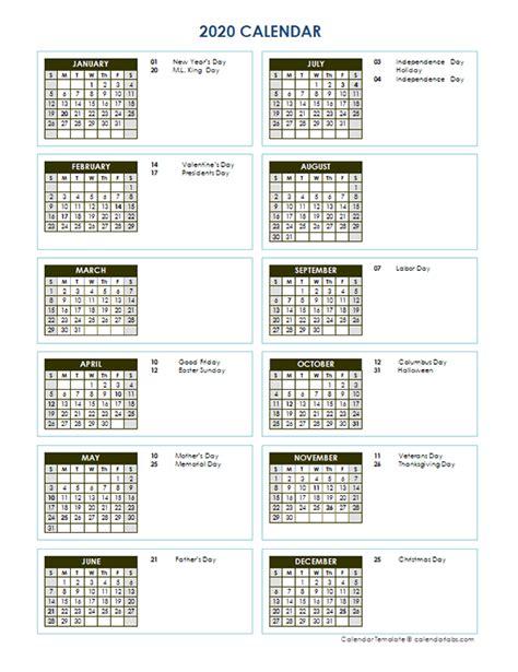 full year calendar vertical template  printable