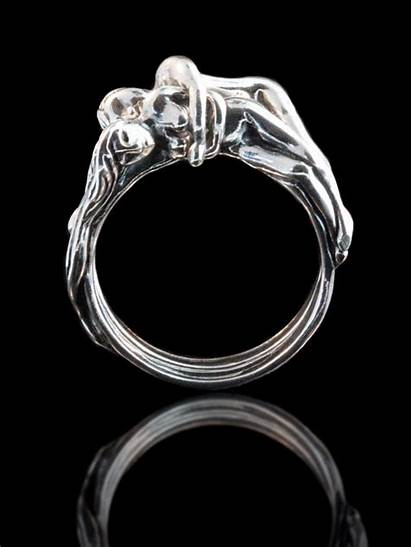 Ring Spooning Lovers Puzzle Silver Magic