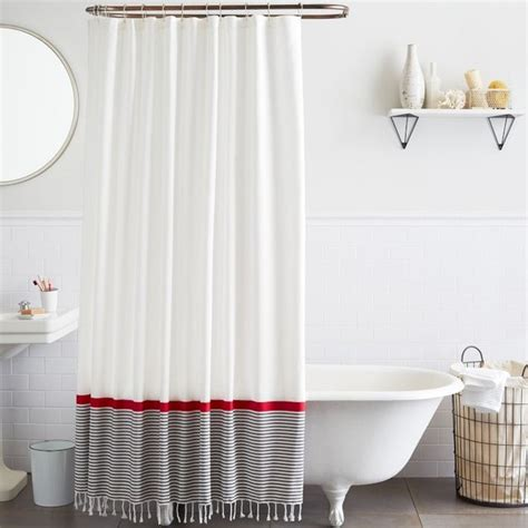 navy and white striped curtains west elm stripe border shower curtain by west elm object lesson