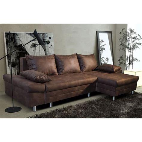 canapé d angle simili cuir marron canapé d 39 angle convertible marron vieilli en tissu avec