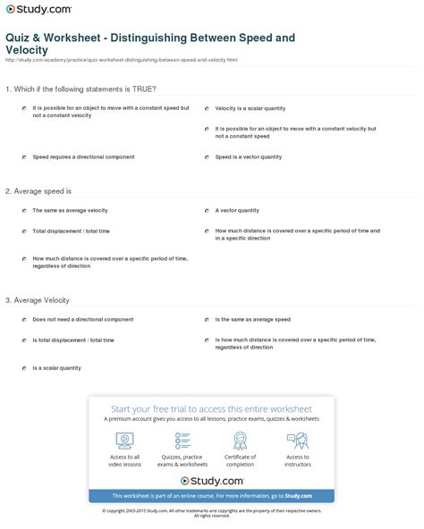 quiz worksheet distinguishing between speed and