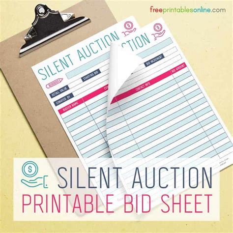 silent auction bidding sheet  printables