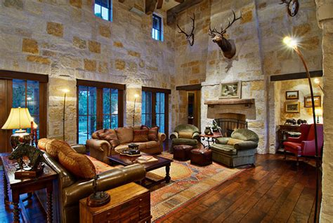 hill country ranch living room traditional living room