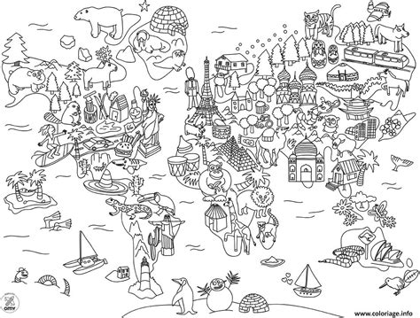 Carte Du Monde A Colorier Avec Pays by Coloriage Carte Du Monde