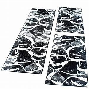 Läufer Schwarz Weiß : bettumrandung l ufer teppich in schwarz grau wei meliert l uferset 3 tlg kaufen bei diva ~ Orissabook.com Haus und Dekorationen