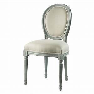 Chaise Medaillon But : chaise m daillon en lin et bois gris louis maisons du monde ~ Teatrodelosmanantiales.com Idées de Décoration