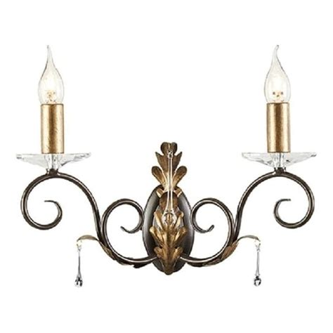 candle wall light with bronze arms and gold oak