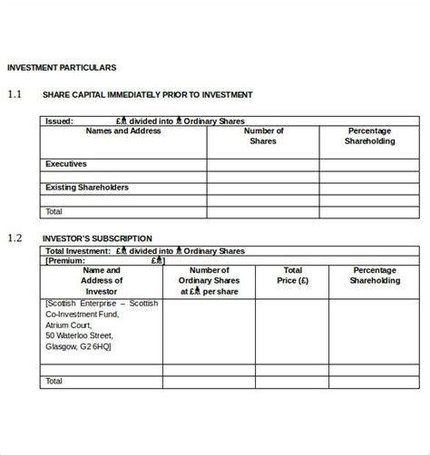 investment agreement templates   xls apple