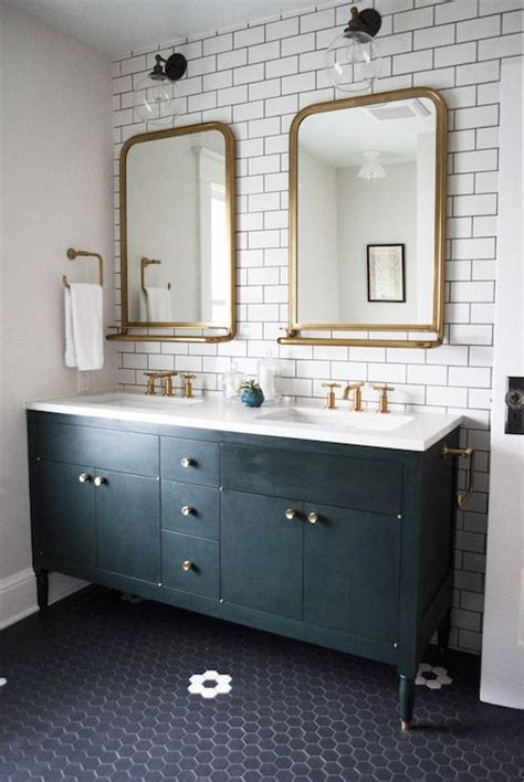 Brass Bathroom Mirror by Sinks Gold Framed Mirrors On Subway Tile With A