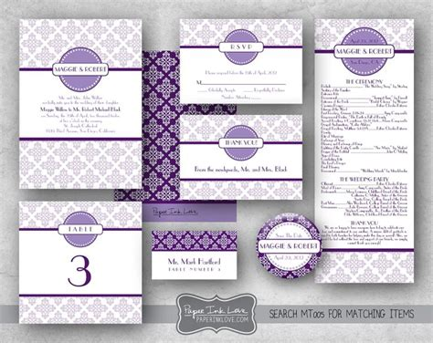 diy purple printable wedding programs simple diy wedding invitations do it yourself wedding