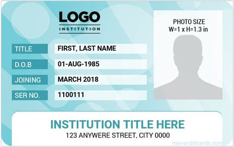 student id card word template free 10 best ms word id card templates for teachers professors