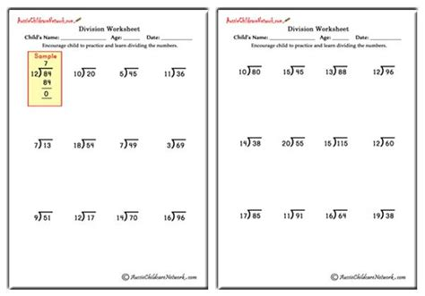 mixed division worksheets    remainders