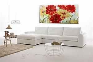 quadri fiori moderni dipinti ad olio su tela rossi e gialli