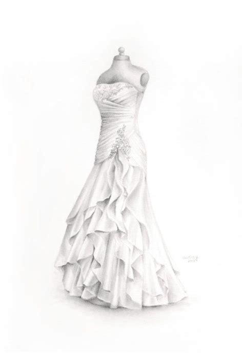 custom wedding dress drawing wedding illustration memory