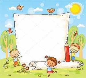 marco de dibujos animados con tres niños al aire libre ...
