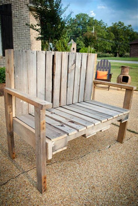 Pallett Bench by Diy Pallet Wood Bench 101 Pallets