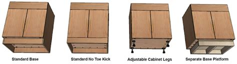 kitchen cabinet toe kick options mass wood working how to build frameless base cabinets 7964