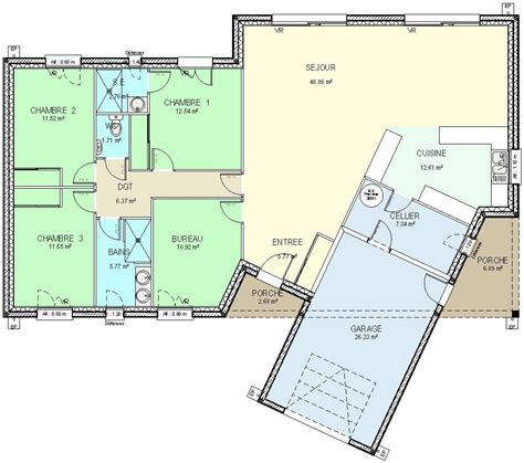plan maison plain pied 2 chambres garage cuisine plan maison plein pied plan maison plain pied