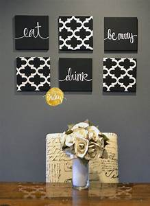 black and white moroccan 6 pack wall art With kitchen colors with white cabinets with eat drink be merry wall art