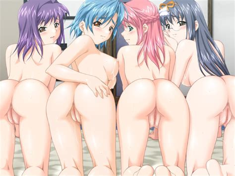 Breasts Pussy Nude Ass Uncensored Glasses Black Hair Pussy Juice Blue Hair Purple Hair Pink Hair