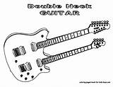 Guitar Coloring Pages Electric Guitars Musical Double Yescoloring Instruments Neck Playing Instrument Printable Rock Bass Cool Too Boys Books Colouring sketch template