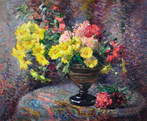 Still Life Of Carnations & Marigolds (oil