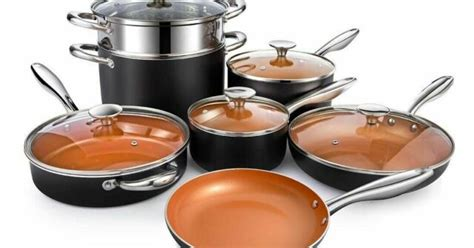 costway  piece nonstick cookware set copper pots pans set ebay