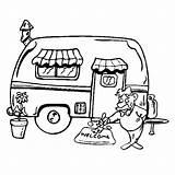 Caravan Camping Kleurplaat Zomer Vakantie sketch template