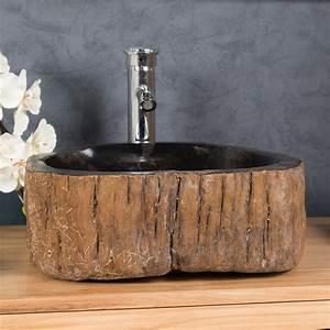 vasque vasque a poser bois petrifie fossilise l 43 cm With salle de bain avec vasque en pierre