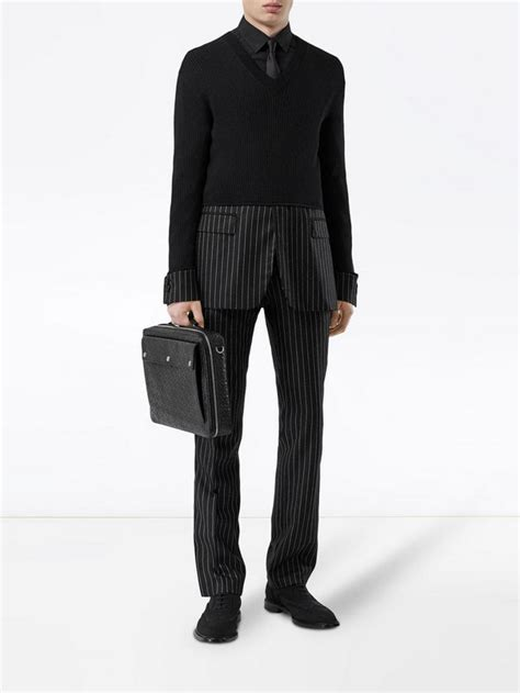 mens laptop bags briefcases burberry triple stud monogram leather document case black