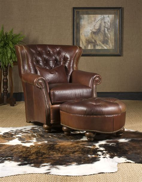 leather chair ottoman high  furniture