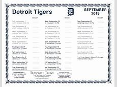 Printable 2018 Detroit Tigers Schedule