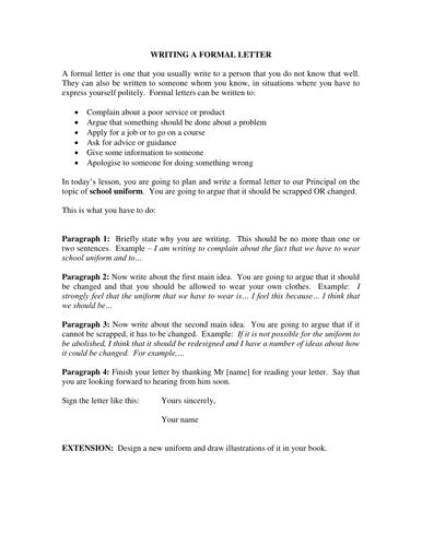 Formal Letter - Task and Guidance by dshowarth | Teaching