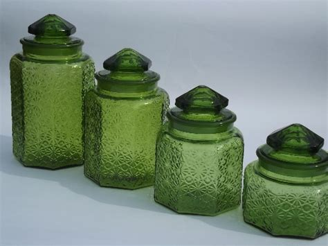 green canisters kitchen vintage green glass button kitchen counter