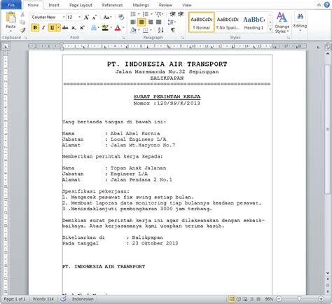 Contoh Surat Perintah Resmi by Contoh Surat Perintah Kerja Resmi Docx