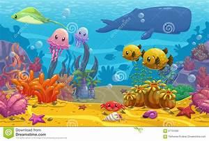 Undersea landscape stock illustration. Image of aqua ...