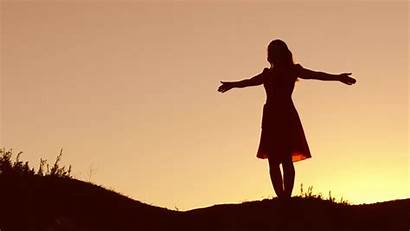 Woman Praise God Hands Silhouette Sunset Clip