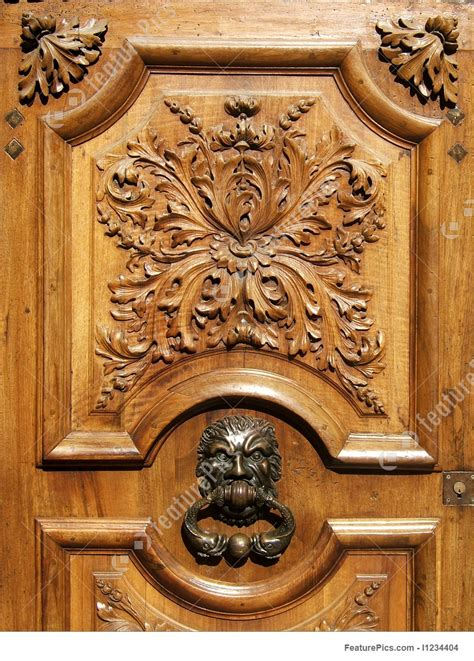 architectural details ancient wooden carved door stock