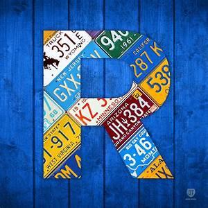 letter r alphabet vintage license plate art mixed media by With letter artwork design