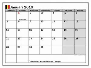 Kalender januari 2019, België Michel Zbinden nl