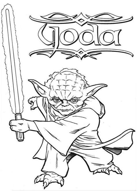 master yoda swing light saber  star wars coloring page