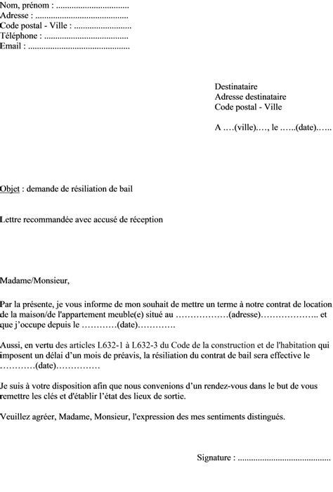 exemple de lettre de résiliation contrat bail location