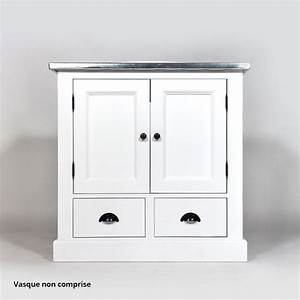 Meuble Bas Bois : meuble salle de bain bois massif blanc 1 vasque 2 portes 2 tiroirs bas plateau zinc made in ~ Teatrodelosmanantiales.com Idées de Décoration