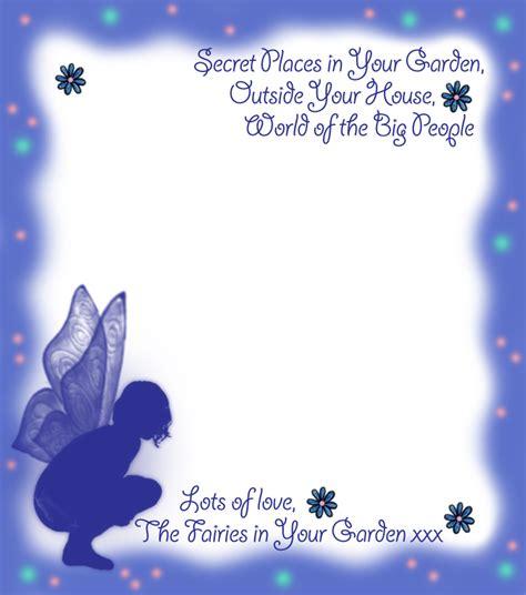 blank notepaper   fairies   garden blue