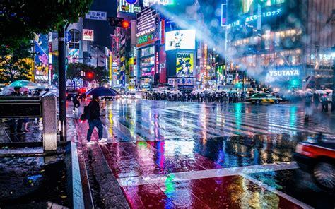 wallpapers tokyo night city rain skyscrapers