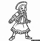 Coloring Peru Pages Traditional Children Wear Ethnic Colouring Thecolor Sheets National sketch template