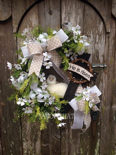 christian easter decorations easter religious wreath he is risen cross wreath