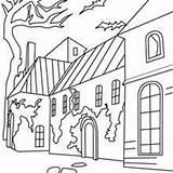 Coloring Pages Haunted Neighborhood Castle Spooky Cabin Woods Drawing Houses Inside Getcolorings Getdrawings Printable Graveyard Hellokids Manor sketch template