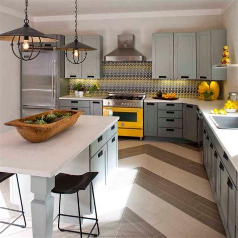 modern rustic kitchen  chevron striped floor