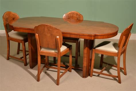 antique deco dining table 4 cloudback chairs c 1920